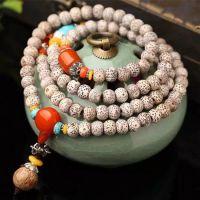 A+桶珠星月菩提子手链108颗干磨 星月佛珠手串 颗颗正月配绿松石