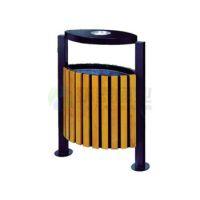 供应齐齐哈尔市 富拉尔基区带盖烟灰盅支架钢木垃圾箱HT-GM6080--------量大从优