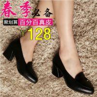 品牌女鞋春新款浅口真皮女单鞋粗跟中跟妈妈鞋中年女士皮鞋上班鞋