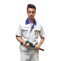 豪派莱嘉维修服工程服短袖套装男士工厂工作服夏装制服米白色