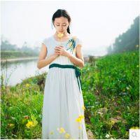 2015民族风女装棉麻中式纯色绣花植物兰草长裙文艺中国风连衣裙