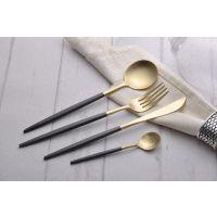 哑光拉丝304黑金不锈钢刀叉勺 西餐餐具葡萄牙同款黑柄金勺 LEON