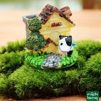 zakka迷你奶牛小房子 微景观装饰配件树脂烟囱小房屋摆件乡村风格