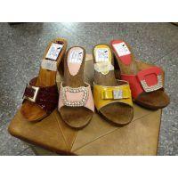 2015夏季日韩外贸鞋子宝石串珠木底坡跟凉鞋厚底防水台超高跟凉拖