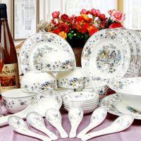 高档釉中彩骨瓷餐具套装 创意陶瓷碗盘酒店摆台用品实用节日礼品