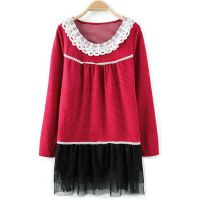 日韩秋冬季蕾丝连衣裙韩国品牌大码女装尾货欧美外贸原单杂款服装