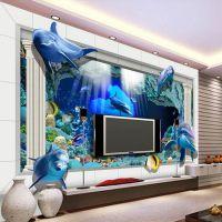 个性背景墙壁纸定制|《工程无缝壁画厂家》3D立体海洋世界主题