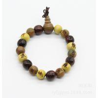 厂家供应佛教三宝檀佛珠手链 黄杨木 红酸枝 绿檀