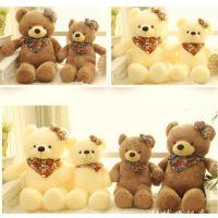正品毛绒玩具熊抱抱熊狗熊泰迪熊公仔三角巾围巾熊毛毛熊布娃娃