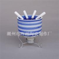 陶瓷手绘蓝色条纹巧克力火锅 芝士火锅