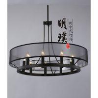 圆形铁艺新中式吊灯|餐厅新中式吊灯|古镇明璞新中式灯饰订制批发