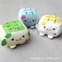定做创意可爱办公桌毛绒手机座 日本卡通毛绒玩具豆腐块公仔