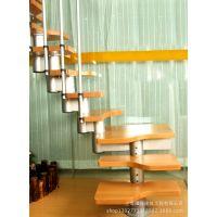 供应熠捷钢木结构梯 迷你梯 家用楼梯 室内楼梯 原生态木楼梯原木楼梯