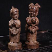 越南天然沉香木雕 金童玉女 恭喜发财家居摆件 木雕工艺品批发