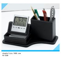 多功能便签纸盒 皮革多功能万年历电子笔筒 可印公司LOGO广告礼品