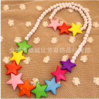 儿童饰品批发 珍珠首饰 项链两件套 亚克力星星饰品套装批发