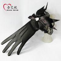 批发新娘手套蕾丝花边大蝴蝶结爱心钻婚纱手套针织网S86黑色白色