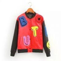 欧美风时尚新品立领长袖毛巾绒贴布字母夹克上衣 女装外套
