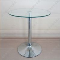 简约餐厅小圆形优质玻璃西餐桌 时尚西餐厅咖啡厅玻璃西餐桌 执卖