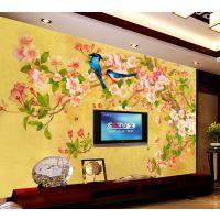 中式饭店大厅装饰画壁纸 无纺布3d无缝墙布手绘花鸟客厅电视背景墙纸批发