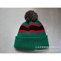 2014欧美流行羊毛保暖舒适感提花带球针织帽子 厂家直销
