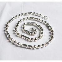 厂家批发 S990足银六角筒圆佛珠项链 男士纯银项链 粗为6MM