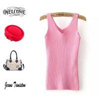 2015夏季新款糖果色V领针织小背心修身百搭打底衫上衣女 C84190