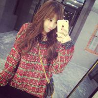 韩版春季时尚新款打底衫针织衫 加厚彩线格子中长款套头毛衣 女