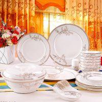 餐具套装碗盘碟,46头骨瓷餐具闭月羞花,唐山陶瓷厂家批发零售