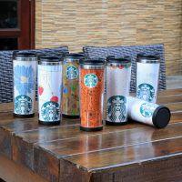 供应星巴克外塑内钢双层咖啡杯DLY定制随手杯