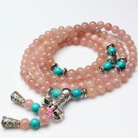 天然水晶手链批发 草莓晶加绿松石108佛珠手链  时尚手链 DIY0173