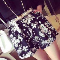 小银子2015夏装新款舒适棉麻松紧腰花朵短裤