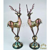 巴基斯坦异域家居饰品批发 手工铜雕动物摆件 彩色踩球对鹿 BA043