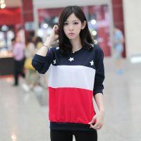 2015春季新款韩版印花拼接圆领蝙蝠长袖T恤修身显瘦大码打底衫女