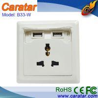 双USB 5V2.1A 5孔 多功能墙壁插座 A2W-1