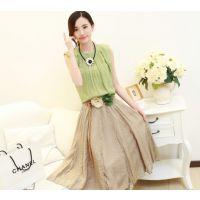 新款韩版女装连衣裙夏棉麻文艺套装裙子中长款女式两件套