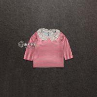 外贸原单童装批发 女童长袖T恤 中小童体恤 女孩儿红色条纹