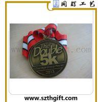 定做学校运动会奖牌 锌合金压铸青古铜织带奖牌来图稿定做 同辉