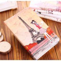 苹果ipad2 3 4 5代air皮套mini2巴黎铁塔女孩 时尚卡通彩绘保护套