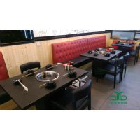 深圳运达来十月新品火锅桌椅 优质石材火锅桌定制 大型餐厅桌椅定制厂家