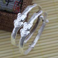 原创熊猫款宝宝银饰批发婴儿银手镯一对精品999千足银一件代发