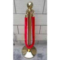供应不锈钢隔离带护栏杆红挂绳围栏杆钛金色圆球礼宾栏杆座批发