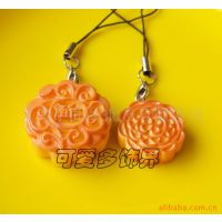 新款 创意树脂仿真小月饼钥匙扣挂件 中秋节礼品 仿真食品挂件