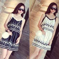 爆款 夏季新品女装 气质假两件松紧腰黑白条纹吊带连衣裙