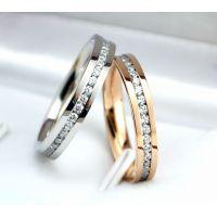 新款情人节礼品闪钻镶钻钛钢镀18K玫瑰金满钻戒指女指环尾戒指