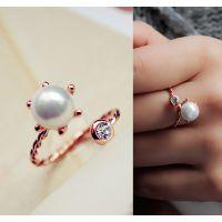 来自星星的你 全智贤千颂伊夸张潮人珍珠镶钻戒指环女 天然贝壳珠