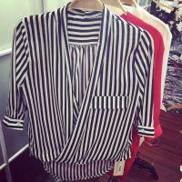 小银子2015春夏新款时尚大V显瘦七分袖雪纺两件套衬衫女衬衣