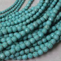 厂家直销天然多规格多面绿松石佛珠 菱形散珠 佛珠饰品配件批发