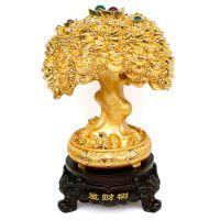 镀金招财树树脂工艺品批发 家居装饰用品发财树工艺摆件 创意礼品