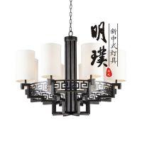 明璞新中式吊灯 酒店客房中式铁艺吊灯 圆形新中式吊灯批发厂家